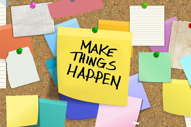 Post-it Notes graphics with Make it Happen Text for Vocational Training