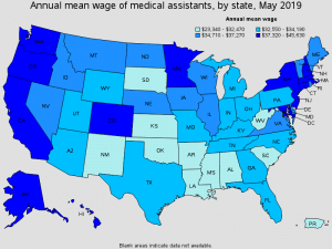 annual mean wage of medical assistants by state